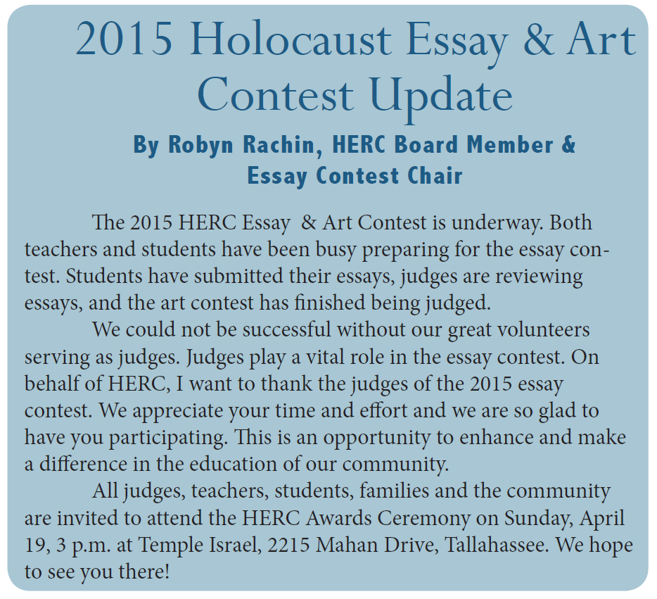Essay and Art Contest Winners | Holocaust Education Resource Council ...